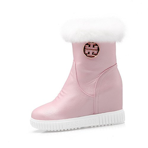 Allhqfashion Women's Soft Material Zipper Round Closed Toe High-Heels Low-Top Boots Pink 2S0bDy