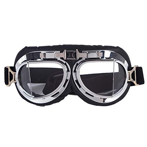 1d64ee8064b1 Vintage Motorcycle Cruiser Scooter Goggle Ski Snowboard Bike Racer MTB Bicycle  Glasses Silver
