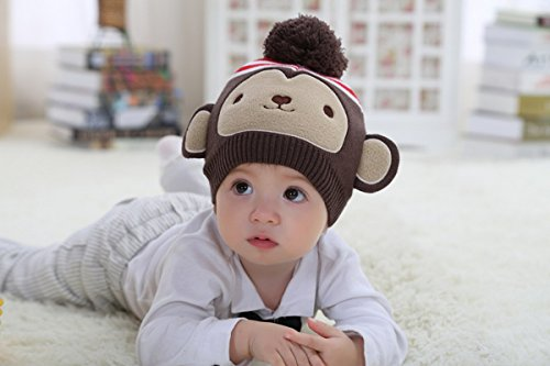 Marron Knit Chapeau Garçons Filles Toddlers Beanie Crochet Enfants Singe Bébés Mignon wCvqxFA