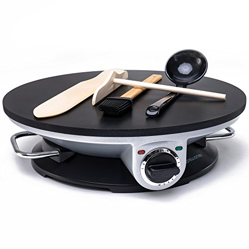 -[ Andrew James Electric Pancake Maker, Crepe Maker, 1200 Watts,13 inch Diameter, Non-Stick Surface