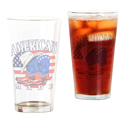Pint Drinking Glass US American Flag Country Cowboy Boots ()