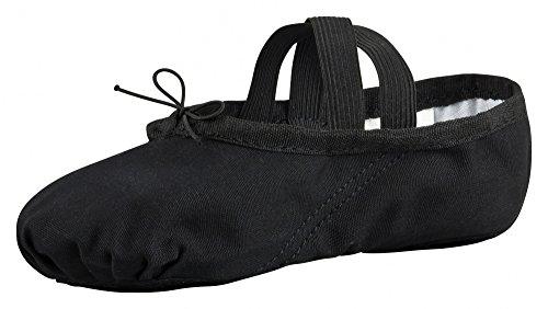 Canvas ballet slippers, split leather sole, black Black