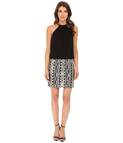 UPC 889558788567, Jessica Simpson Women's Blouson Bungee Necklace Dress with Emblesshed Skirt Black Dress 10