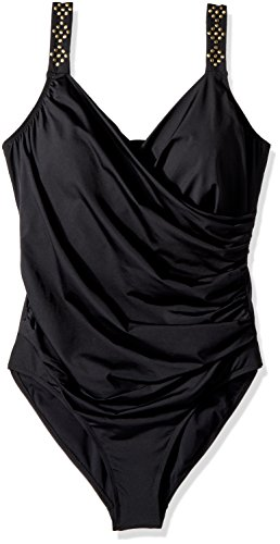 Jantzen Women's Solid Novelty Shoulder Draped Surplice One Piece Swimsuit, Black, - Swimsuits Custom Fit