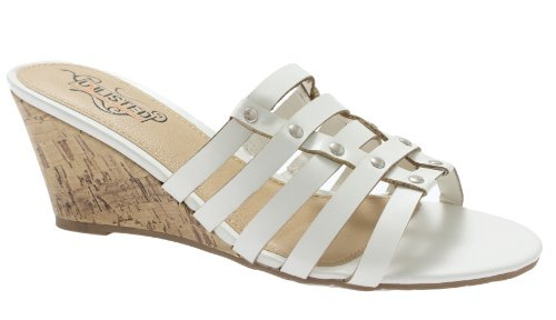 (Kenneth Cole Unlisted Beautiful Bit Womens Wedge Sandals White 7.5)