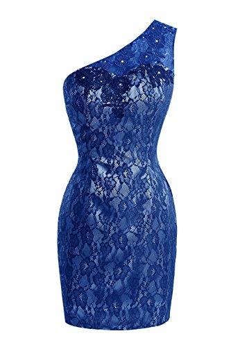 Bess Une Épaule Femmes De Mariée En Dentelle Sexy Robes De Cocktail Robe De Bal Bleu Royal