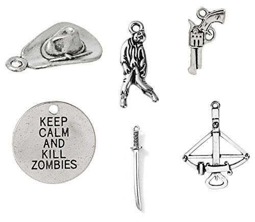 100 Charms Inspired by Walking Dead - Mix of Gun, Zombie, Cowboy Hat, Sword, Crossbow, Keep Calm and Kill - Sword Review Gun