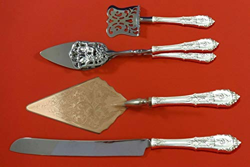 (Rose Point by Wallace Sterling Silver Dessert Serving Set 4pc Custom Made)