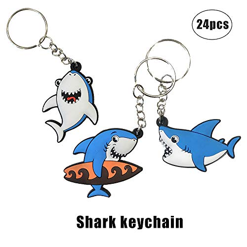 Cleverplay 24 Pack Shark Keychains Key Ring Decoration Under The Sea Birthday Party Favor Gift Supplies for Kids