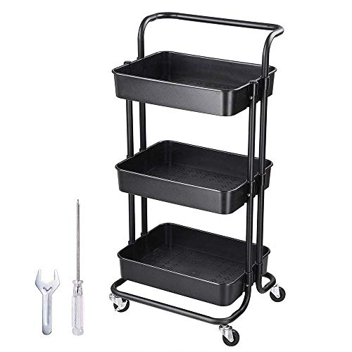 Chi Mercantile Multipurpose Organizer Hair Salon Nail Spa Rolling Utility Trolley Storage Cart with 3 Shelves Workstation (Black)