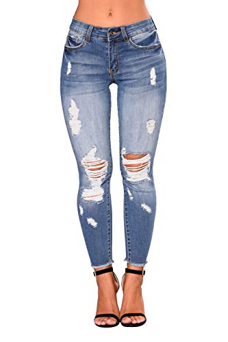Just for Plus Women's Denim Destroyed Ankle Length Skinny Jeans Long Length Ripped Hole Trousers Pants