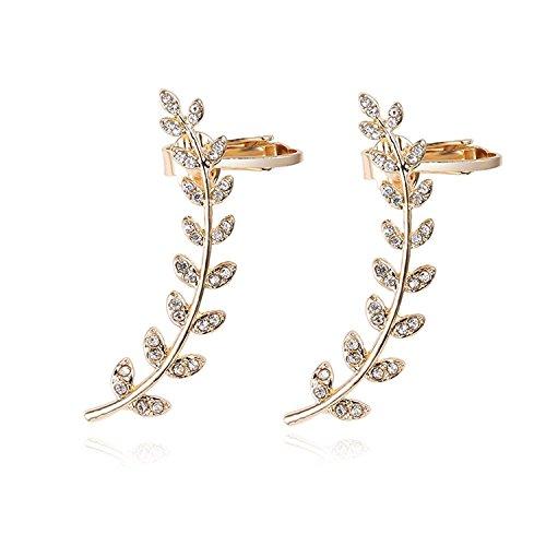 Holiday Christmas Hypoallergenic CZ Crystal Leaves Ear Cuffs Climber Earrings Sweep up Ear WrapFor Women,Teen & Girl (Rhinestone Floral Clip Earrings)