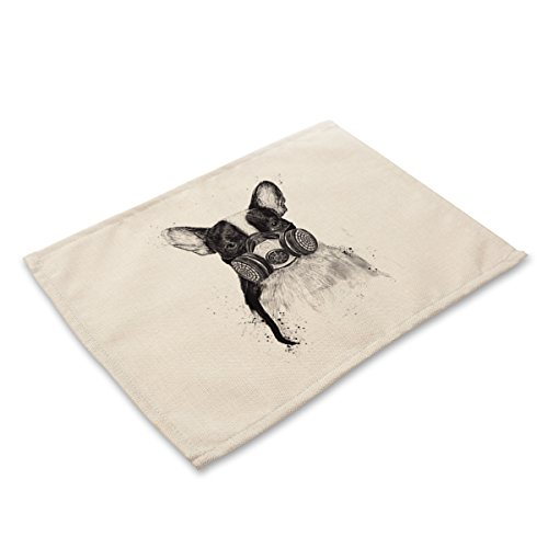 Simmia Home Placemats for Kitchen Table, Set of 6, Heat Insulation Non-Slip Cotton and Linen Placemats for Kitchen and Dining Room Cartoon Series Hand-Painted Solid Color Dog MA0084-6 (Uk Rattan Placemats)