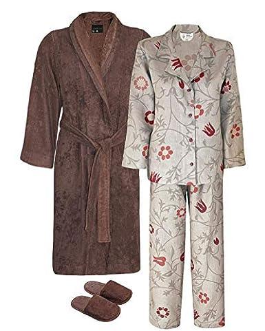 3865643660 Armani International Linen Pajamas + Terry Robe Slippers Large Chocolate-Golden  Brown Safari