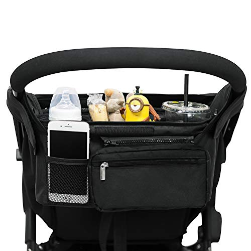 Universal Stroller Organizer with Cup Holders, Lupantte Diapers Bag with Shoulder Strap, for Carrying iPhone, Toys & Snacks, Fits Uppababy, Baby Jogger, Britax, Bugaboo and BOB Stroller. (Black)