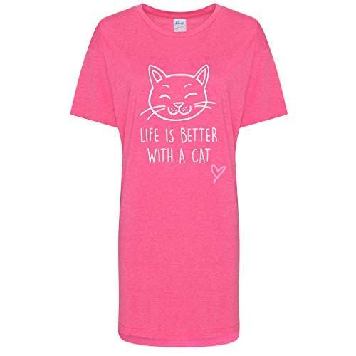 Second Is Avec Des Makeover Slogan Limited Friend Nuit Fête Pyjama Chat De Mères Chemise Nuisette Better 60 Rose Life wIFqYId
