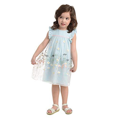 Laura Ashley London Baby Girls' Blue Ruffle Sleeve Party Dress ()