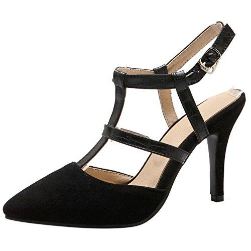 FANIMILA Mujer Moda Verano Cerrado Tacon de Aguja Sandalias Correa En T Zapatos Negro