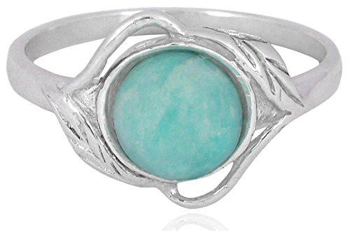 Sterling Silver Amazonite Ring with Leaf Patterns| Ring Size| 5.75