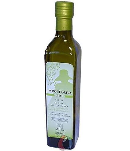 3 botellas de vidrio de 500 ml - ParqueOliva BIO - Aceite de oliva virgen extra