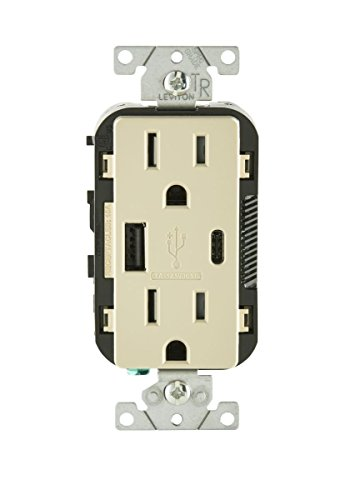 - Leviton T5633-I 15-Amp Type-C USB Charger/Tamper Resistant Receptacle, Ivory