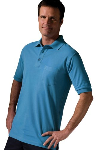 Pique Knit Mock Shirt - Edwards Garment Big And Tall Short Sleeve Pique Polo Pocket Shirt_MARINA BLUE_5XLT
