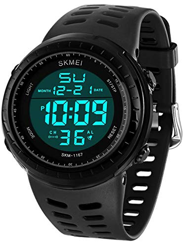 LYMFHCH Men's Digital Sports Watch LED Screen Large Face Military Watches and Waterproof Casual Luminous Stopwatch Alarm Simple Army Watch - Black