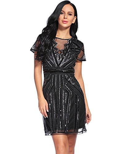 Flapper Girl Women's Mesh Backless Vintage 1920s Beads and Sequin Embellished Flapper Dress (XXL, Silver)