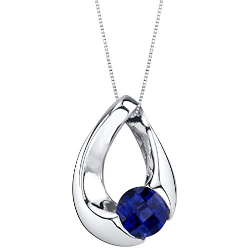 Created Sapphire Sterling Silver Slider Pendant Necklace