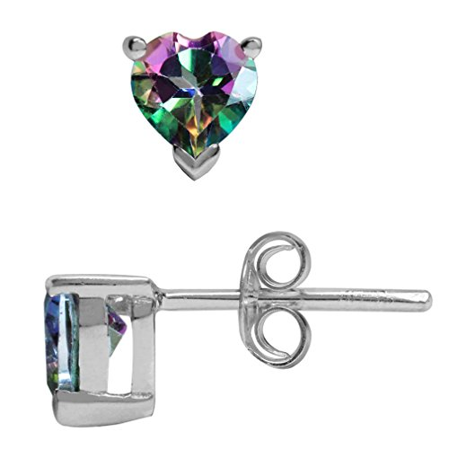 1.1ct. Heart Shape Mystic Fire Topaz 925 Sterling Silver Stud ()