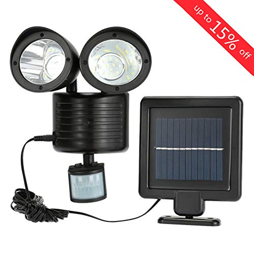 (iMeshbean Indoor/Outdoor Solar Security Light Dual Head Exterior Solar Motion Sensor 22 LED Waterproof Lamp Light Bright Garden Light Adjustable with 16ft Cord)