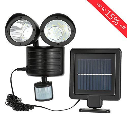 iMeshbean Indoor/Outdoor Solar Security Light Dual Head Exterior Solar Motion Sensor 22 LED Waterproof Lamp Light Bright Garden Light Adjustable with 16ft Cord - Lamp Dual Wall