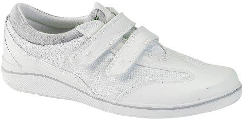 Grasshoppers Women's Stretch Plus Velcro Sneaker,White,8 (Velcro Running Shoes)