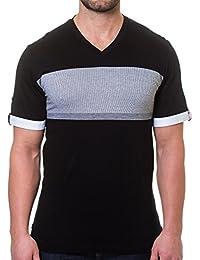 Mens Designer V Neck - Stylish & Trendy T Shirt - Thick Stripe Black - Tailored Fit
