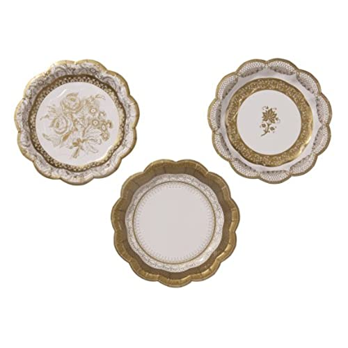 TALKING TABLES PARTY PORCELAIN GOLD Talking Tables Gold Party Vintage Style Small Disposable Plates 12 count for a Tea Party or Birthday  sc 1 st  Amazon.com & Vintage Style Paper Plates: Amazon.com