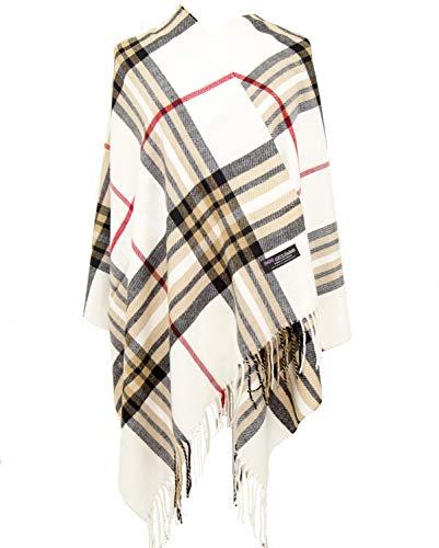 Cashmere Nova Check - 2PLY 100% Cashmere Blanket Oversized Scarf OS Tartan Nova Check Scotland Wool Plaid (Cream Off White Red Camel Black Nova Tartan Check Plaid)