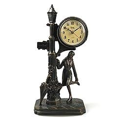 14 Decorative Street Lamp Resin Mantel Clock, Bronzed Finish Antique Quartz Clock Romantic Art Statue Home Decor