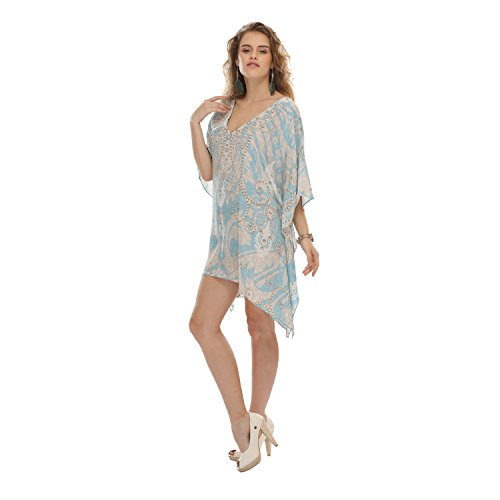 D G PRINTS FAB Women's Kaftan Short Beachwear Swimwear Bikini Cover ups Beach Dress (D&g Women Dresses)
