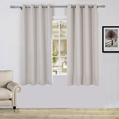 Lullabi Solid Thermal Blackout Window Curtain Drapery, Grommet, 63-inch Length by 54-inch Width, Beige, (Set of 2 Panels)