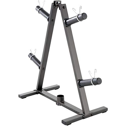 Marcy A-Frame Olympic Weight Plate Tree & Vertical bar Holder Organizer Storage Rack 2-Inch Free Weights PT-5740