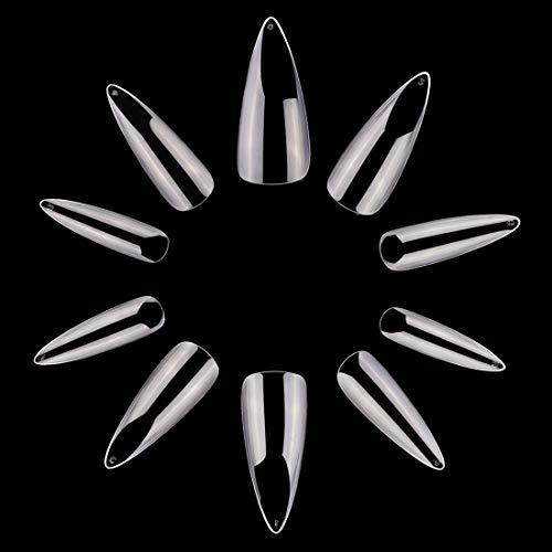 - Makartt 500pcs Coffin Nails Stiletto Ballerina False Nails Tips Clear Full Cover Ballet Acrylic Fake Nails 10 Sizes A-18