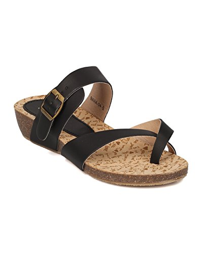Women Leatherette Low Wedge Sandal - Split Toe Instep Strap Casual- HA52 by Alrisco - Black Leatherette (Size: (Girls Black Hazel Shoes)