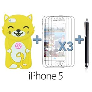 OnlineBestDigital - Cat Style Soft Silicone Case for Apple iPhone 5S / Apple iPhone 5 - Yellow with 3 Screen Protectors and Stylus