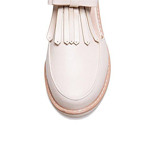 Agoolar Femme Pu Cuir Boucle Chaussures Rond Unie Couleur L nOBqO4