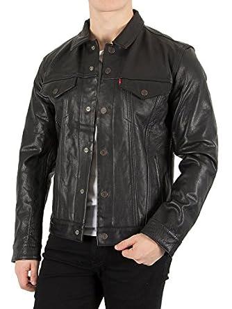 levi 39 s jackets men black leather trucker jacket for. Black Bedroom Furniture Sets. Home Design Ideas