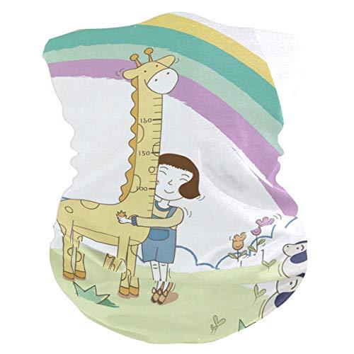 Girl Hugging A Giraffe Headband Womens Bandana Multifunctional Mens Balaclava, Neck Warmer, Face Mask, Sweatband Facemask