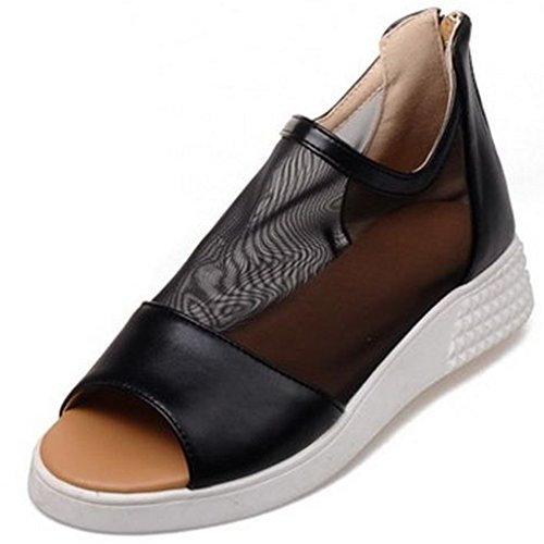 LongFengMa Women Casual Flat Sandals Bootie Zipper Closure Black