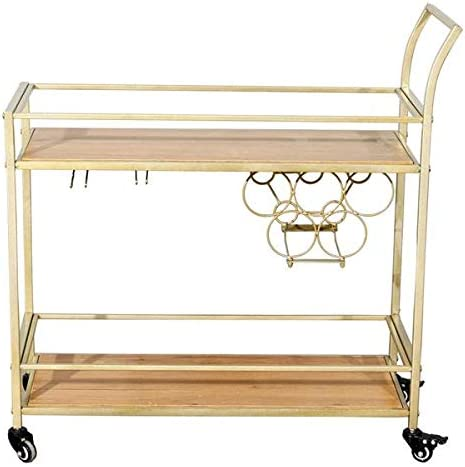 Star Products Gold Color Bar Cart Kitchen Serving Cart