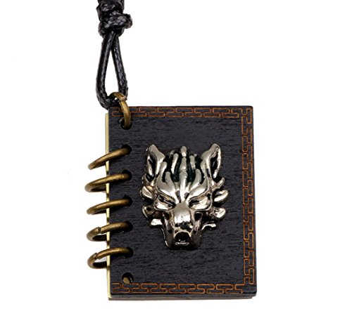 Zoe House Of Cards Costume (Winter's Secret Alloy Wolf Head Pattern Book Pendant Can Put Photo Necklace Lover Adjusted Leather Rope)