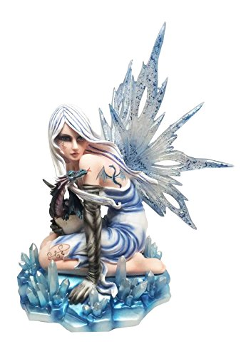 LARGE ICE FAIRY WITH SHADOW EYE WITH DRAGON TATTOO STATUE HATCHLING FIGURINE